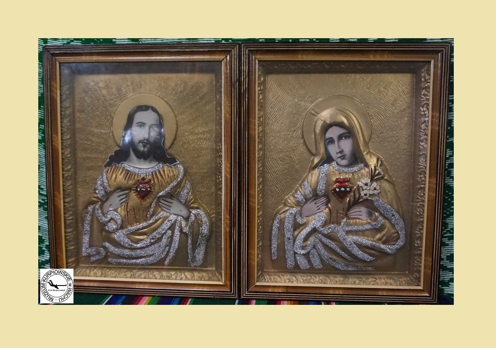 Najświętsze Serce Pana Jezusa i Gorejące (Nipokalane) Serce Maryi - oleodruk