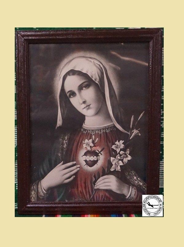 Gorejące (Nipokalane) Serce Maryi - oleodruk