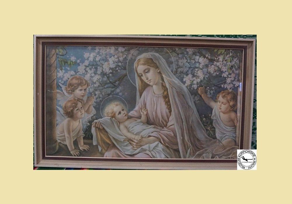 Maryja z Jezusem i aniołami - oleodruk