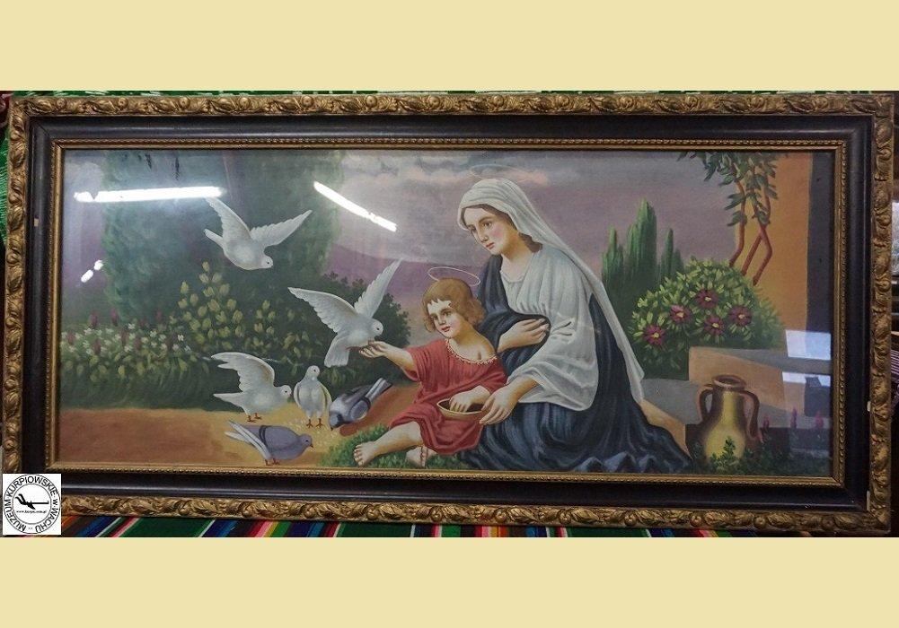 Maryja z Jezusem karmiąca gołębie - oleodruk