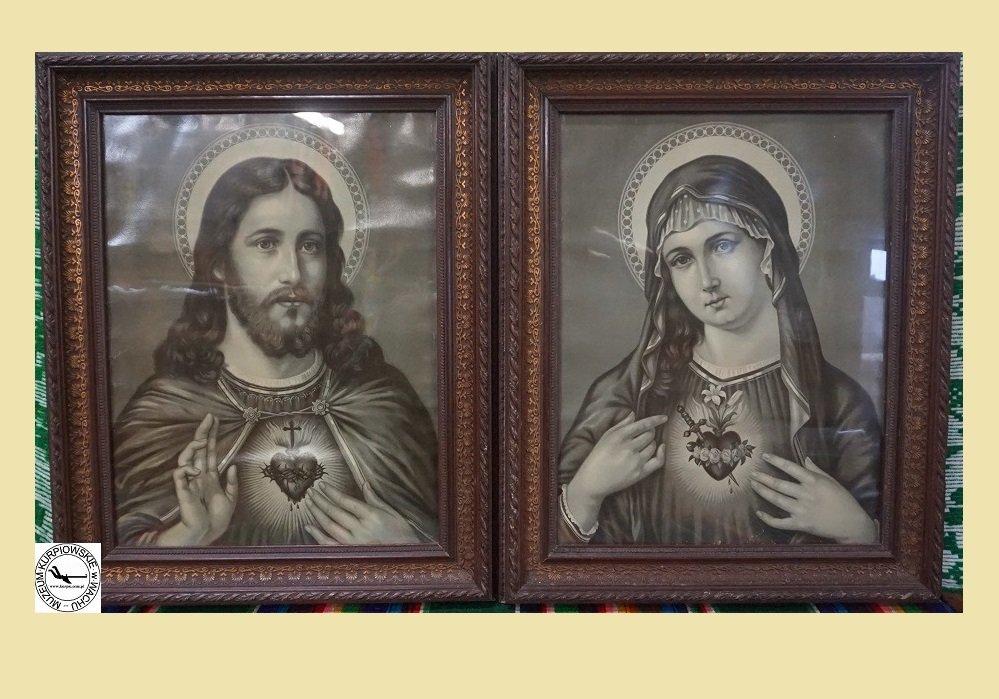 Najświętsze Serce Pana Jezusa i Gorejące (Nipokalane) Serce Maryi - oleodruki