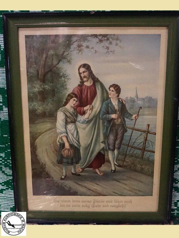 Jezus prowadzący dzieci - oleodruk