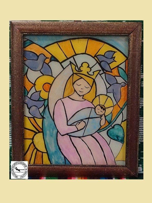 Matka Boża z Dzieciątkiem - obraz na szkle