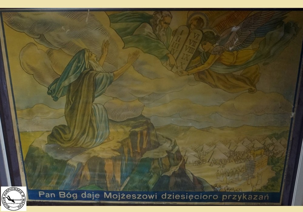 Pan Bóg daje Mojżeszowi dziesięcioro przykazań - oleodruk